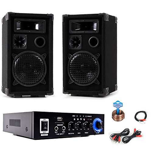 PA Party Kompakt Musikanlage Boxen Verstärker Bluetooth USB SD MP3 DJ-Compact 3