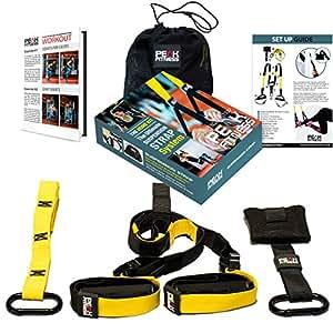 Peak Fitness Cross Fit - Système de suspension avec ancre de porte, sangles, boucles en métal