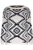 Damen Pullover Top Gestrickt Flauschiger Pelz Azteken Muster Lange Ärmel - Creme - Winter warm Diamant Strickware Top, S/M (EU 36-38)