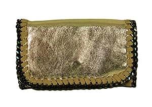 Borsa a mano da donna, Clutch Lani piccolo Pelle Look Glitzer effetto metallizzato con catena borsa da sera, Gold Glitzer small (Oro) - 0705171844