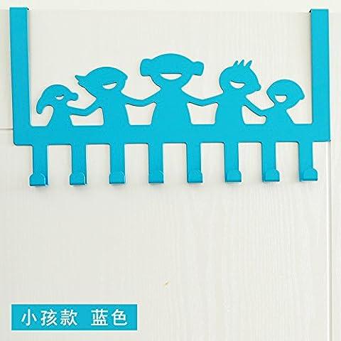 puerta de acero inoxidable minimalista después de ganchos no están libres de arañazos clavija puertas ganchos de percha dormitorio escudo perchas de puerta trasera, [Niños Felices - cielo azul]