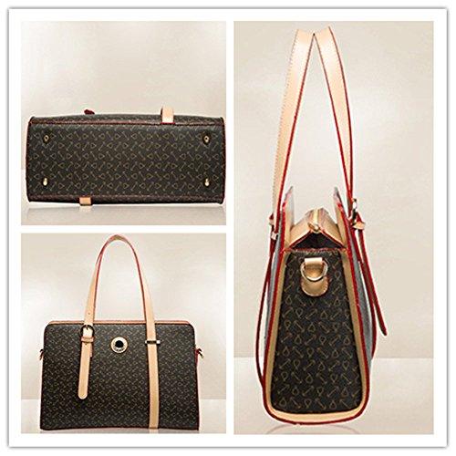 YAAGLE Damen Handtasche Geldbörse Schultertasche Set Europäisch-Stil Handtasche moderne Geldbörse Tote-tasche 2 pcs Beutel braun