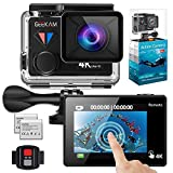 GeeKam WiFi Sports Action Camera 4K 30fps Ultra HD Touch Screen 170Ã'° Wide Angle Lens Underwater Waterproof Camcorder with Remote Control 2 Rechargeable 1350mAh Batteries and Mounting Accessories