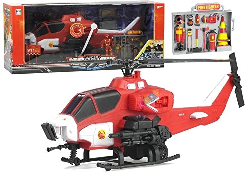 BSD Groß Feuerwehr Helikopter mit Rettung Zubehör - Soundeffekte