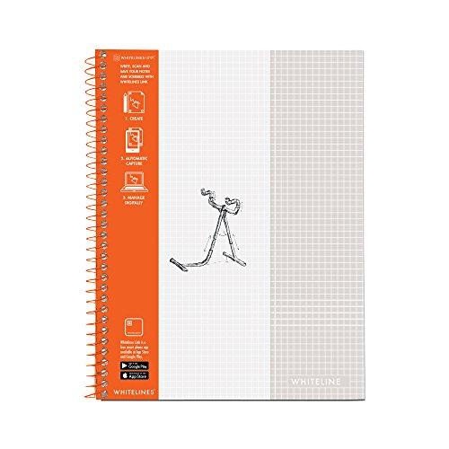 Whitelines Notizbuch, Drahtkammbindung, Graph, 70 Bögen, volle Größe grau -