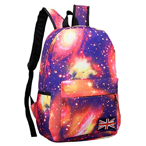 Alikeey_borse zaino donna,alikeey galaxy pattern unisex zaino da viaggio canvas fashion casual bag simple star backpack backpack (rosa)