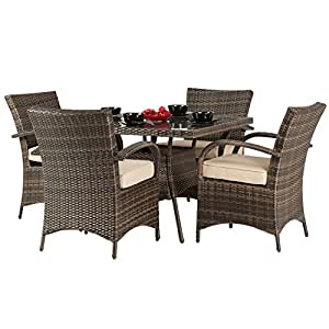 Dallas 4 Seater Rattan Dining Set Brown Rattan Garden