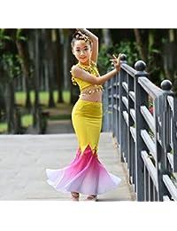 HUOFEINIAO Trajes De Baile Dai para Niños Falda De Cola De Pez Elástico  Peacock Dance Costumes 20cb740849372
