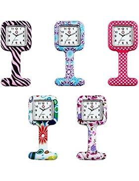 lancardo Set 5 von hoher Qualität Unisex Krankenschwestern Revers Armbanduhr Silikon (Infektionskontrolle, PCAK...
