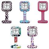 lancardo Set 5 von hoher Qualität Unisex Krankenschwestern Revers Armbanduhr