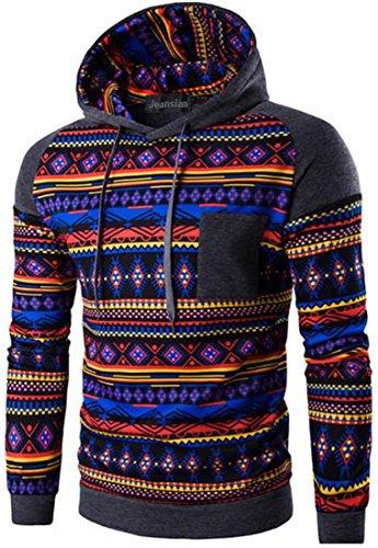 jeansian Herren Casual Ethnic Style Hooded Pullover Hoody Hoodies Sweatshirt Sports Top 88G0 88G2_DarkGray