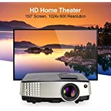 "CAIWEI Portable LED LCD Projector Mini Support 1080P 720p HDMI, 2600 Lumens 150"" Outdoor Indoor Movie Night Multimedia HD Projector, For Blu-ray DVD Player, Laptops, Tablets, Smartphones, HD Games"