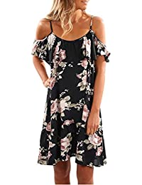 Women's Cami Vest Dress Kanpola Ladies Summer Boho Casual V-Neck Ruched Ruffle Floral Printed Mini Party Cocktail Beach Dress Sundress