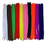 """120 Chenille Craft Pipe Cleaners 10 Mixed Colours 30cm x 6mm 12"""""""