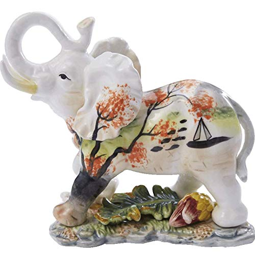 Powzz ornament Figura Estatuas Esculturas Ceramica Mil Velas Maple Leaf Asia Sudoriental Elefante Decoración Pequeño Elefante Animal Home Accesorios Moda Living Room Decoration Gift, 18 * 9.5 * 16Cm