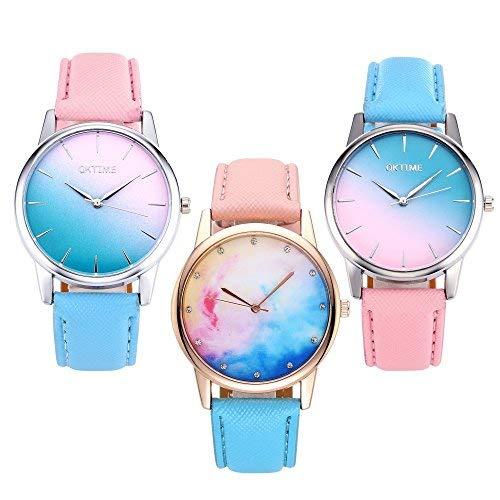 JSDDE Uhren Fashion Damen Armbanduhr Cute Candy Farbe Blau-Pink Farbverlauf Lederband Kleideruhr Analoge Quarzuhr für Frauen Mädchen (3 Stück Set)