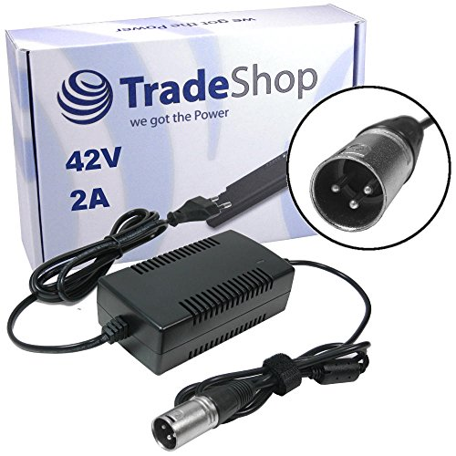 Preisvergleich Produktbild Trade-Shop Netzteil Ladegerät Ladekabel 42V 2A für 36V Akkus mit 18,5mm x 15,5mm 3pin XLR Anschluss Stecker für E-Bike Elektrofahrrad Pedelec Elektro Fahrrad Akkus zum Aufladen