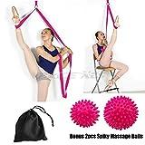 Leg Stretcher Strap on Door, Bonus Spiky Massage Balls - Flexibility & Stretching - Great for Ballet Cheer Dance Gymnastics or Trainer Premium stretching equipment taekwondo & MMA. (rose)