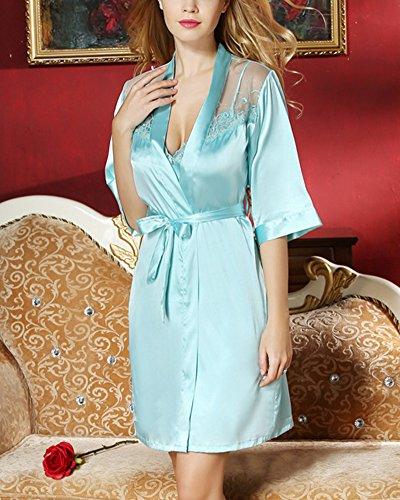 Damen Spitze Nachthemd Nachtwäsche Negligee Satin Nachtkleid Zweiteilig Blau