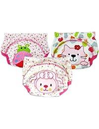 halomy 3Pcs Baby Girls Training Pants Cute Baby lavable Potty toilette pantalons réutilisable couche couches sous-vêtements