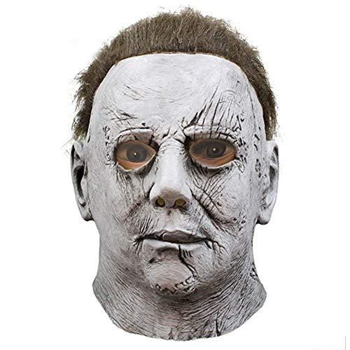 Michael Myers Party Kostüm - TOOcsj Halloween Maske Michael Myers Maske Latex Horror Maske Requisiten Für Cosplay Weiß Ganzkörperansicht Langes Haar
