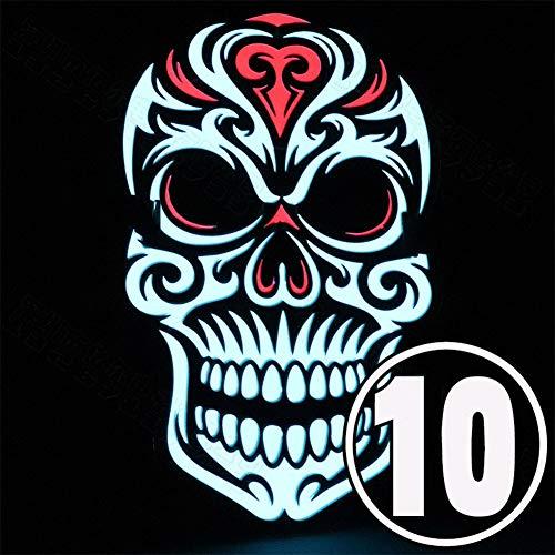 oween, einzigartiger Klang, LED, EL-Licht, Cosplay-Maske für Festivals, Party, Kostüm, 10 Stück ()
