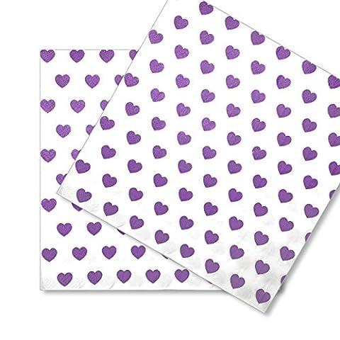 60x Papierservietten Servietten Herz EinsSein® 33x33cm weiss-flieder Einwegservietten Hochzeitsservietten Partyservietten