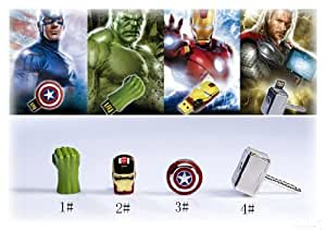 Avengers Set aus 4 Sticks Thor's Hammer, Hulk Faust, Captain America Schild und Iron Man (Rot mit LED-Beleuchtung) je 8GB USB Stick 2.0 in Alubox - Avengers Serie