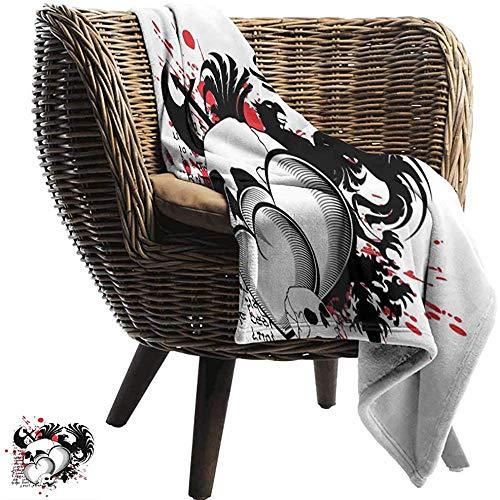 Gemusterte Flanell Fleece Decke Tätowierung,Verbundene Herzen Mit Schädel Eagle Wings Symbol Des Tapferen Liebes-Drucks Und Roter Super Weicher Gemütlicher Warmer Plüsch,127x102 CM