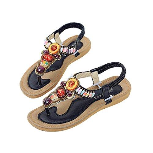 Price comparison product image Women Sandals, Women Flat Shoes String Bead Bohemia Leisure Lady Sandals Peep-Toe Outdoor Shoes (39,  Black)