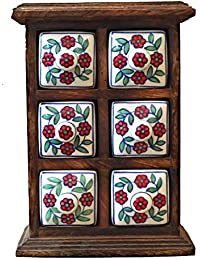 Wooden Ceramic Drawers (Cabinet With 6 Drawers Chest) - (10 X 7 X 4 Inches)