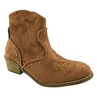 Mc Footwear Ladies Fashion Faux Suede Cowboy Ankle Boots Side Zip Stud Detail Size UK 3-8