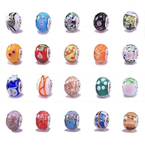 VIKI LYNN - lot de 30 perles en verre mélangés - Idéal pour la fabrication de DIY bracelets-Style