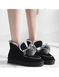 un Pedal de Zapatos de Primavera E Invierno Más Terciopelo Zapatos de Guisantes Gruesos Zapatos de Algodón Botas de Nieve,Negro,36