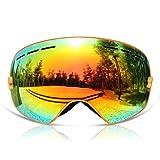GANZTON Skibrille Snowboard Brille Doppel-Objektiv UV-Schutz Anti-Fog Skibrille Für Damen Und Herren Jungen Und Mädchen Orange