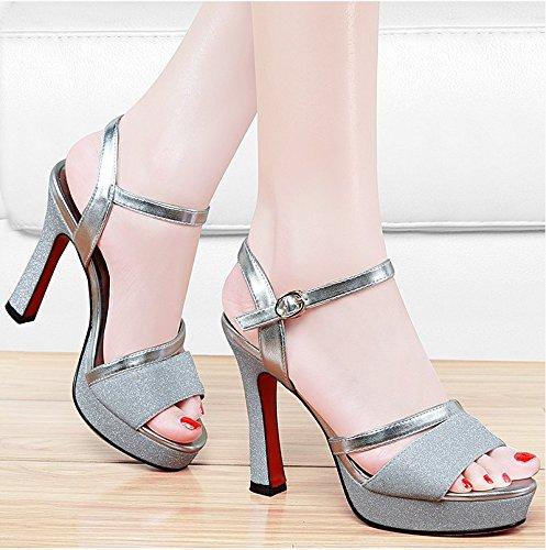 Boca Peixe De Femininos Sapatos Prata Confortável Palavra Sandálias Freático A Salto Lençol Fan4zame Respirável Alto Arrefecer Com De Fivela 36 UXRwpxWq8