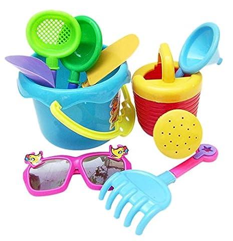 Beach Toys, SHOBDW 9Pcs Sand Sandbeach Kids Beach Toys Castle Bucket Spade Shovel Rake Water Tools (9 Pcs,