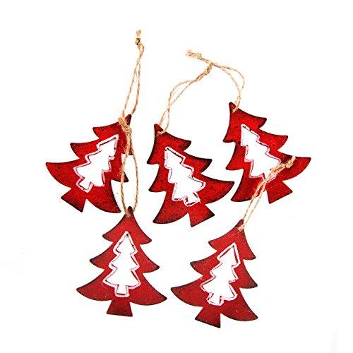 10 Stück Weihnachten BAUM Anhänger ROT METALL Weihnachtsanhänger Geschenkanhänger Weihnachtsdeko zum Aufhängen Baumschmuck Weihnachtsschmuck