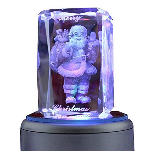 liwuyou Bunte romantische Gravur Merry Christmas Gifts 3D-Kristall Music Box, Kristall, Santa Claus, Music Base (Box Santa Music Claus)