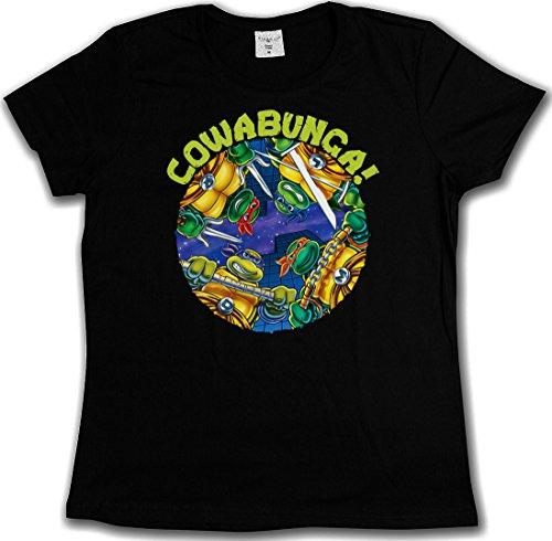 BLACK COWABUNGA T-SHIRT - Tartarughe Teenage TMNT Les Chevaliers Comic Mutant TV Ninja Hero Serie Turtles Taglie S - 5XL