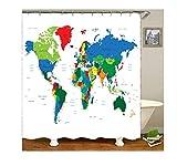 AnazoZ Duschvorhang Anti-Schimmel, Wasserdicht Badewanne Vorhänge Antibakteriell, Bad Vorhang für Dusche 3D Weltkarte, 100% PEVA, inkl. 12 Duschvorhangringen 120 x 180 cm