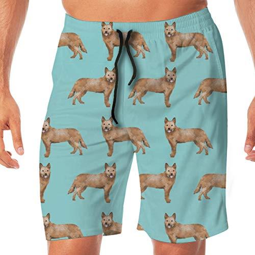 dd7cde85eb Australian Cattle Dogdog, Red Heeler, Dogs, CuteBlue Surfing Pocket Elastic  Waist Men's Beach