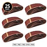 25 Stück Gewebe-Schleifbänder 75 x 457 Körnungen je 5 x 40/60 / 80/120 / 180 Schleifband Bandschleifer