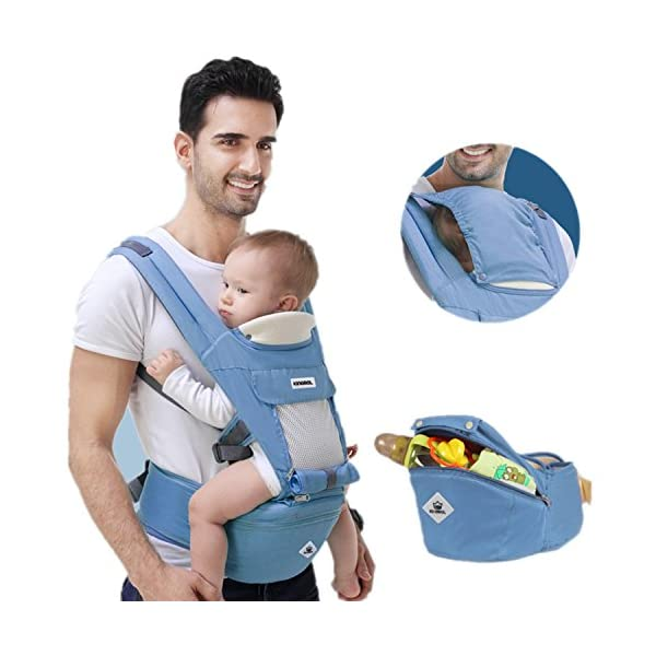 All Seasons 360 Ergonomic Baby Carrier 3 in 1 Backpack with Hip Seat-12 Position,Adapt to Growing Baby (Newborn, Infant & Toddler), Adjustable Baby Carrier Sling,Baby Diaper Bag with Large Capacity tqgold Ergonomic And Comfortable: Ergonomic Butterfly hip seat design to ensure baby's hips and legs are positioned correctly and comfortably, minimizes leg bending and prevents O-LEG Breathable And Soft: 100% cotton with high quality 3-D mesh keeps you and your baby cool. Removable shutter can keep warm in winter and cool in summer, suitable for all seasons use. Wide and sturdy lumbar belt ensures baby's weight is distributed evenly over the carrier's hip and shoulder areas for comfort 3 in 1 and All Carry Positions: The Waist Stool (bucket seat) could be detached from Upper Strap by unbuckling the connection buckles. Both Upper Strap and Waist Stool can be used separately. Front inward (fetal, infant, or toddler settings), front outward, hip or backpack carry options all in one. Face baby in or out. Wear on the hip or back as baby grows. 41
