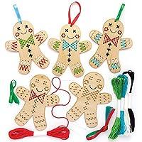 Baker Ross Kits de Punto de Cruz de Madera para Crear muñecos de Jengibre Decorativos (Pack de 6), Ideales para Manualidades y Decoraciones navideñas Infantiles