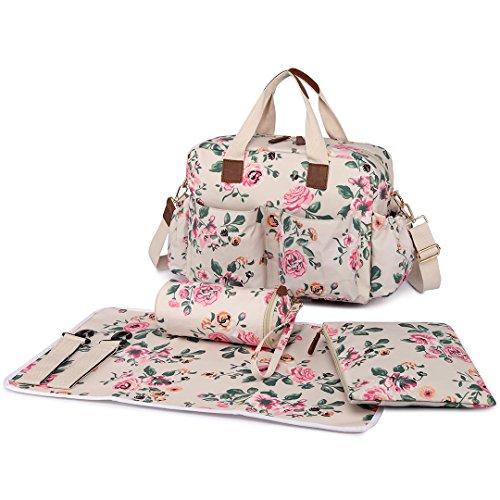 4-teiliges Baby-Taschenset mit Vogel-/Blumenmuster (große Windeltasche, Handtasche, Wickelunterlage) von Miss Lulu