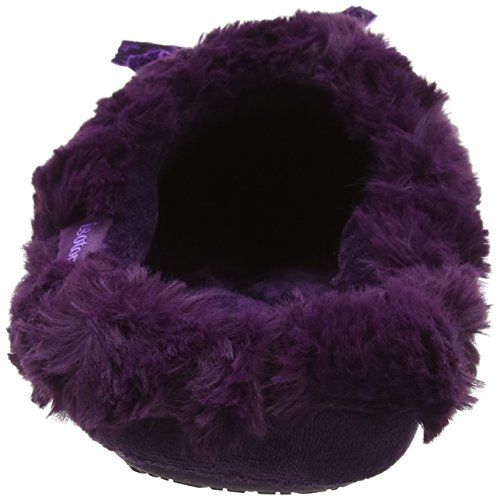 Isotoner Fur Mule with Ribbon Slippers, Pantofole Donna Viola (Purple)