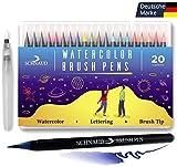 SCHNAUD Brush Pen Set - 20+1 Watercolor Pinselstifte/Wasserfarben-Stifte + Aquarell/Hand-Lettering E-Book (Deutsch) - Bullet Journal und Kalligraphie Zeichnungen - Hochwertig mit Echter Pinselspitze
