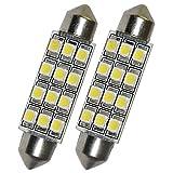 Oce180anYLV 2 Stück Auto Dome 12 3528-SMD LED Birne Licht Innen Girlande Lampe 42mm Weiß