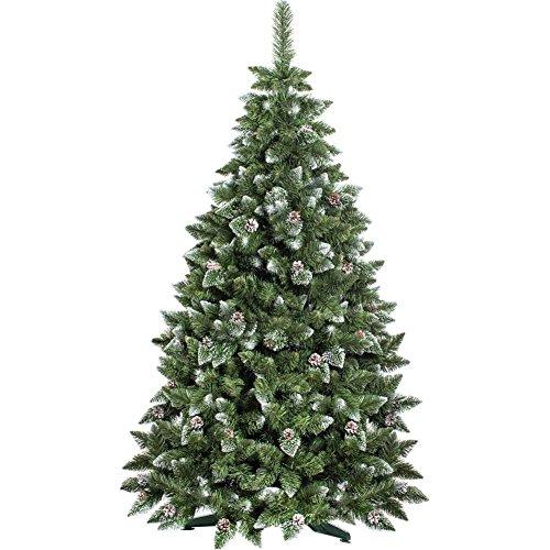 Bakaji albero di natale folto pino king premium artificiale innevato con pigne bianco naturale punte ricoperte di neve materiale pvc vere pigne di abete base a croce altezza 120cm 350 rami ingnifugo